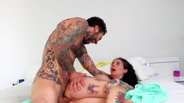 Tattooed German MILF gets her mouth creamed