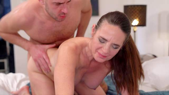 Real pleasure for auntie during her first cam shag
