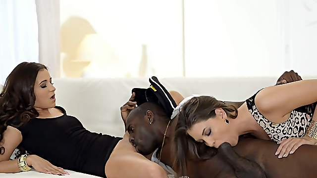Black dude gags both bitches then fucks them