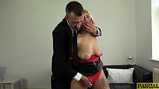 Blonde Latina endures a rough sexual treatment during a kinky fetish play